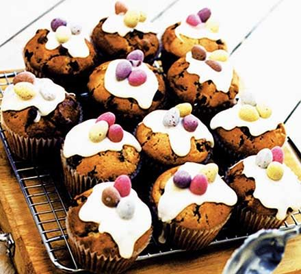 Simnel Muffins - BBC good food website.  I like to soak the dried fruit in brandy for a week beforehand though!