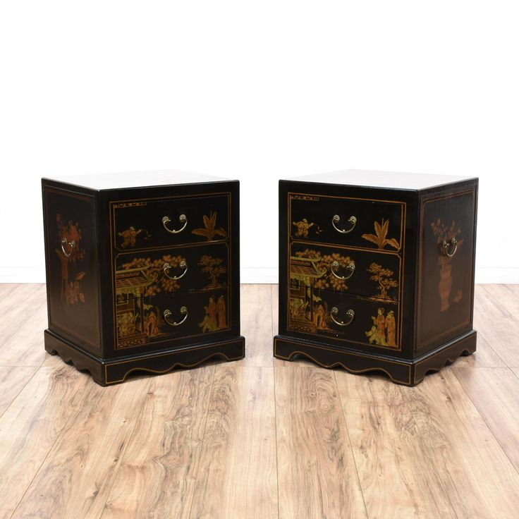 This pair of Asian nightstands are featured in a solid wood with a shiny black lacquered finish. These end tables have 3 drawers, orange gold chinoiserie painted details and brass pulls. Bed side tables with tons of character!  #asian #dressers #nightstand #sandiegovintage #vintagefurniture