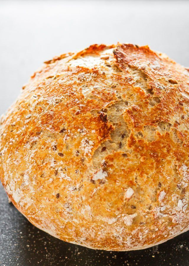 Whole wheat, Sunflower and Flaxseed No-Knead Bread