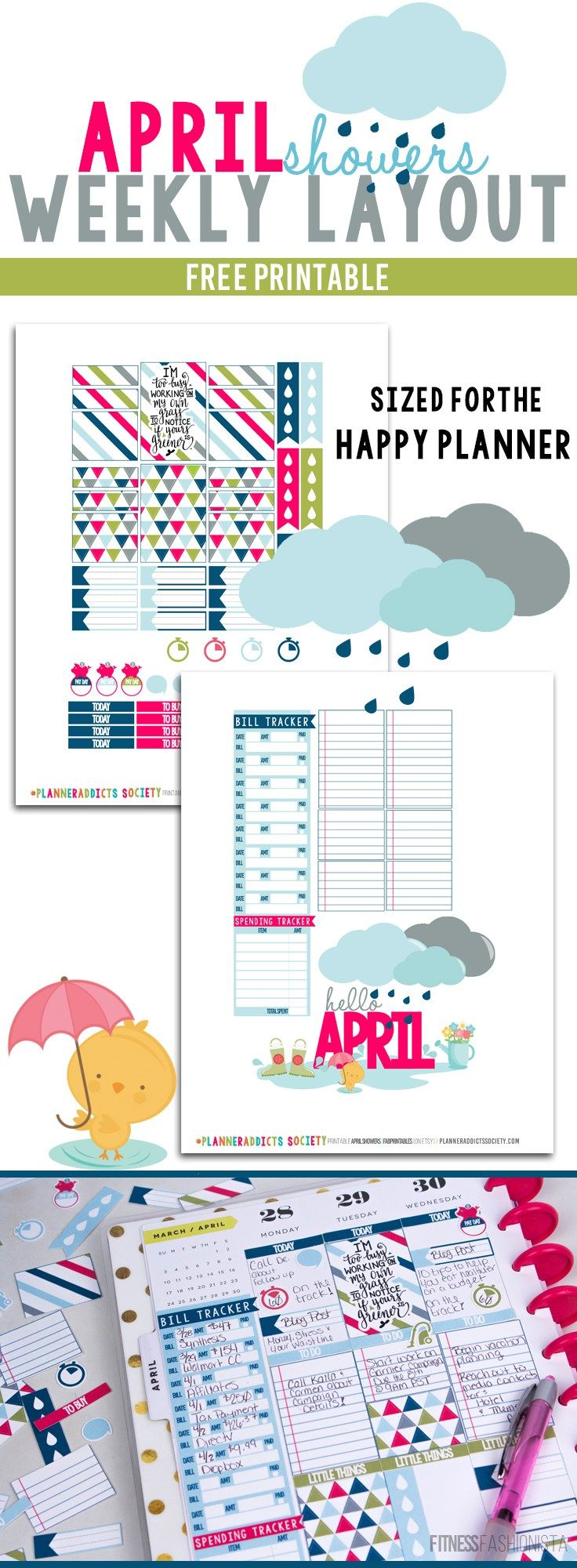 April Showers Happy Planner Layout | #PlannerAddicts - Fitness Fashionista