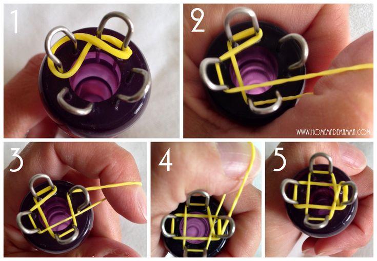 Braccialetti elastici loom bands con tricotin: tutorial