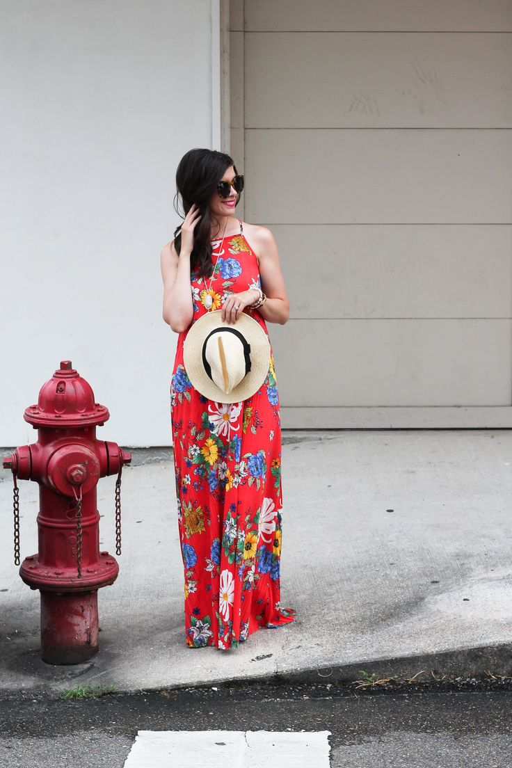 Red Floral Maxi Dress, Summer Fashion