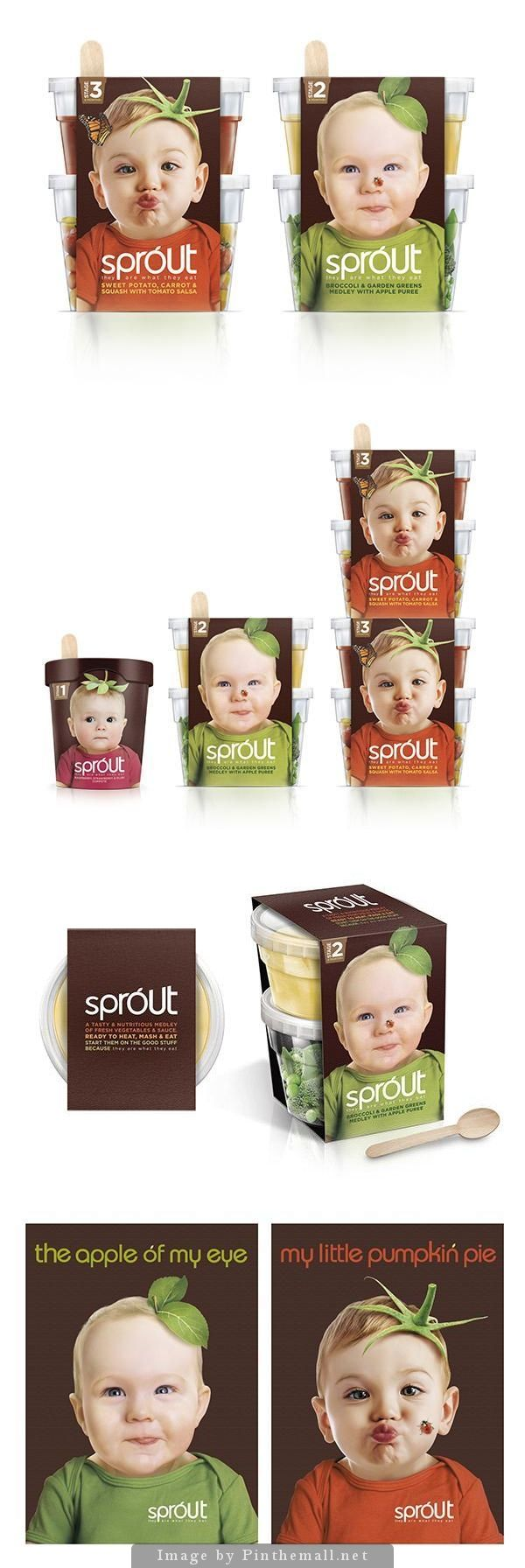 Sprout concept packaging for a new organic baby food in the UK. Pentaward GOLD winner, A AWARD GOLD winner. Extended pin for a team fav Sprout PD