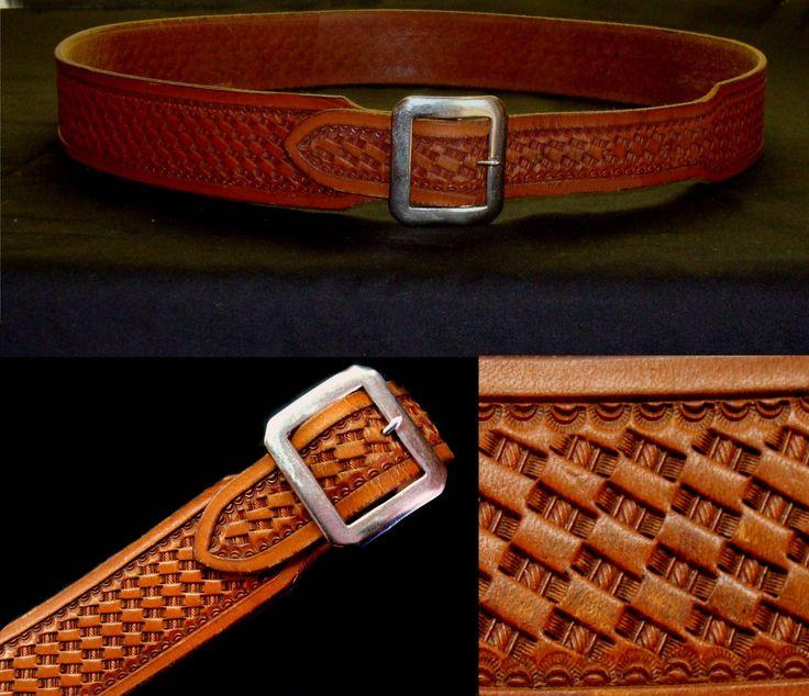 """Vintage tooled leather belt-Viking handmade leather belt-men's leather belt-women's leather belt-mexico hand made leather belt-46"""" belt by BECKSRELICS on Etsy"""