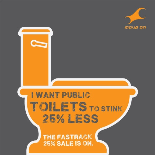 I want public toilets to stink 25%less. The Fastrack sale is on!