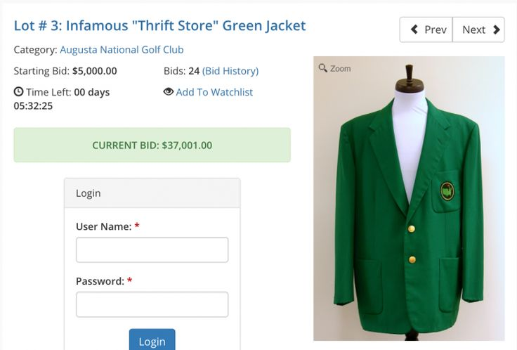 Masters green jacket up for auction, and it isn't cheap