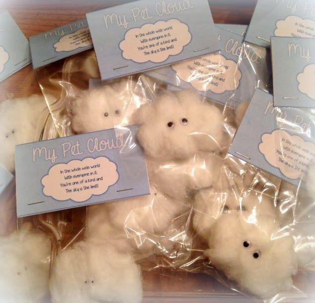 """My Pet Cloud -- An Adorable, Easy and Inexpensive Gift from Teacher to Students.  Free printable tent card reads:  """"In the whole wide world With everyone in it You're one of a kind and The sky is the limit!"""""""