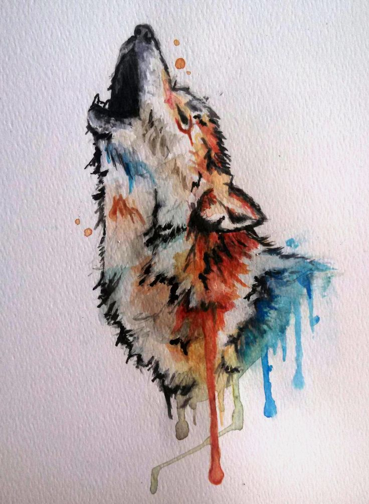 howling wolf drawing watercolor - Google Search