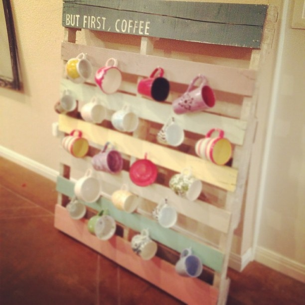 so cool. pallet mug rack. - this would be great for a small kitchen-frees up space in the cupboards-could use the slats from the old crib in the garage