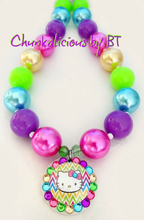 Colorful Hello kitty chunky necklace by Badgetopia on Etsy, $24.00