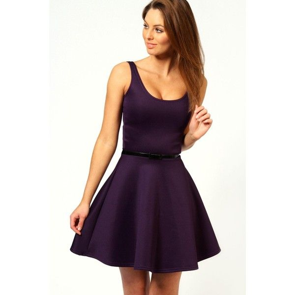 Boohoo Maya Scoop Neck Skater Dress ($25) ❤ liked on Polyvore featuring dresses, purple, party dresses, midi dress, jersey maxi dress, purple maxi dress and purple bodycon dress