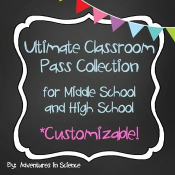 The Ultimate Classroom Pass Collection for Middle and High School has just about every kind of pass that a teacher might need during the school year. Each pass is customizable, so you can enter your own name or classroom number BEFORE printing! No need to buy special paper or waste expensive colored ink. There are eight black and white passes on each page and they can easily be cut with a paper cutter. $