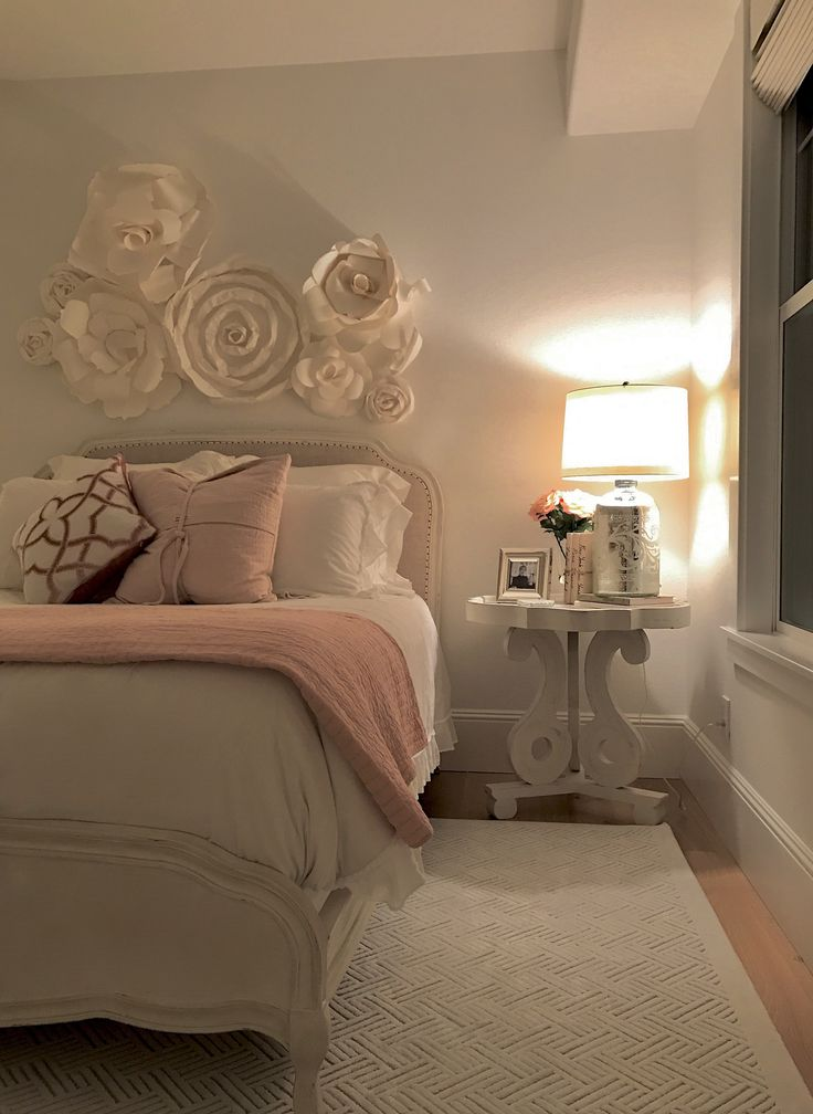 guess bedroom spring blush tones side table and lamp from homegoods help create a cozy atmosphere in my daughters new beautiful bedroom - Brown Themed Bedroom Designs