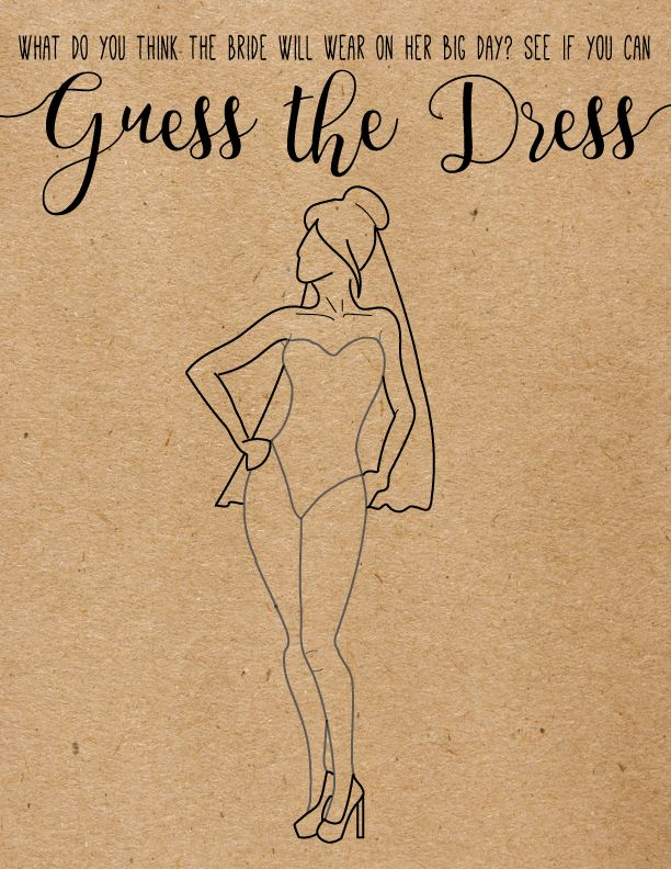 Guess The Dress. Unique Bridal Shower Game. Fun, Funny, Bridal Shower Games. Wedding Shower Games.