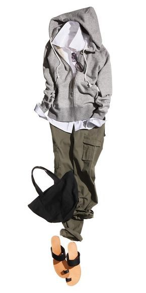masimaro - olive cargo pants, white shirt or tee, gray hoodie and black leather sandals
