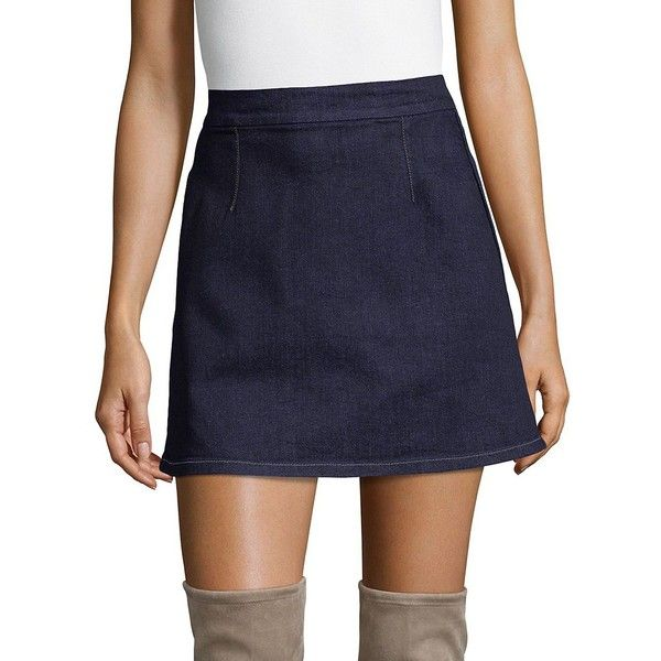Calvin Klein Women's Flat Front Denim A-Line Skirt ($18) ❤ liked on Polyvore featuring skirts, rinse, blue a line skirt, long skirts, calvin klein skirt, knee length a line skirt and blue denim skirt