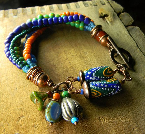Bead Glass African Beads: African Krobo Trade Bead Bracelet Mixed Metal OOAK