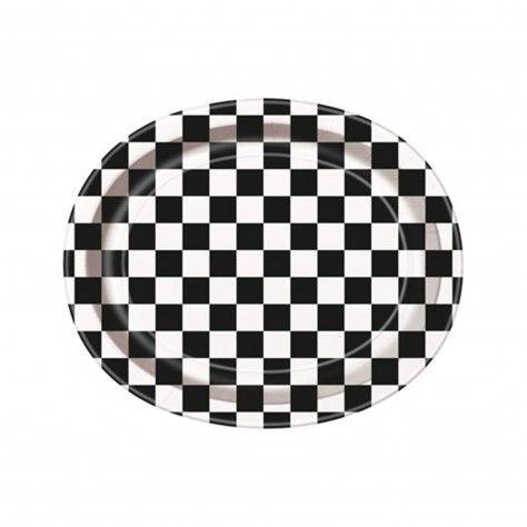 χάρτινα πιάτα οβάλ καρό ασπρόμαυρα - sweebies