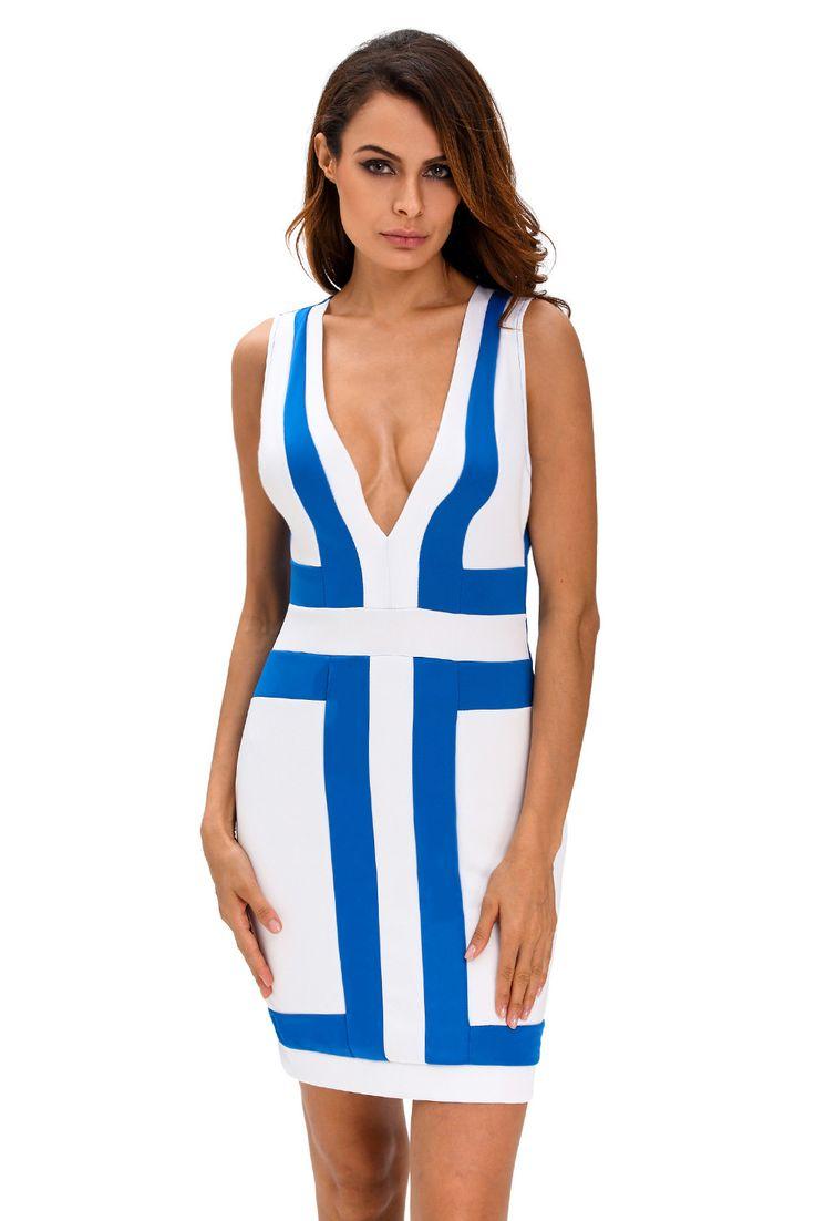 Chicloth Light Blue White Color-block V Neck Sleeveless Dress