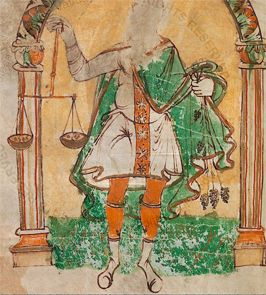 Male Libra holds scales aloft in this Carolingian zodiac from the Reichenau monastery, Germany. Image courtesy of the Vatican Library.  source???- Reg.lat.438