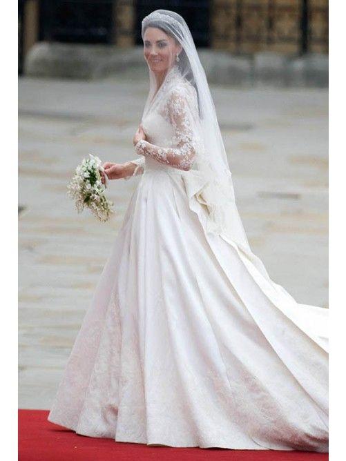 A-Line/Princess V-Neck Lace Embroidery Satin Wedding Dresses
