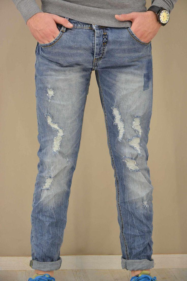 Aνδρικό παντελόνι ντένιμ με σκισίματα PANT-5024 Παντελόνια τζίν - Jeans &