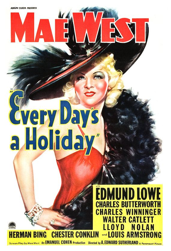 Mae West - Every Day's A Holiday - Home Theater Decor - Classic Comedy Movie Poster Print  13x19 - Vintage Movie Poster -