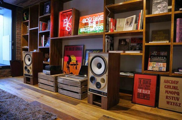 Hi Fi & art in home of graphic artist...