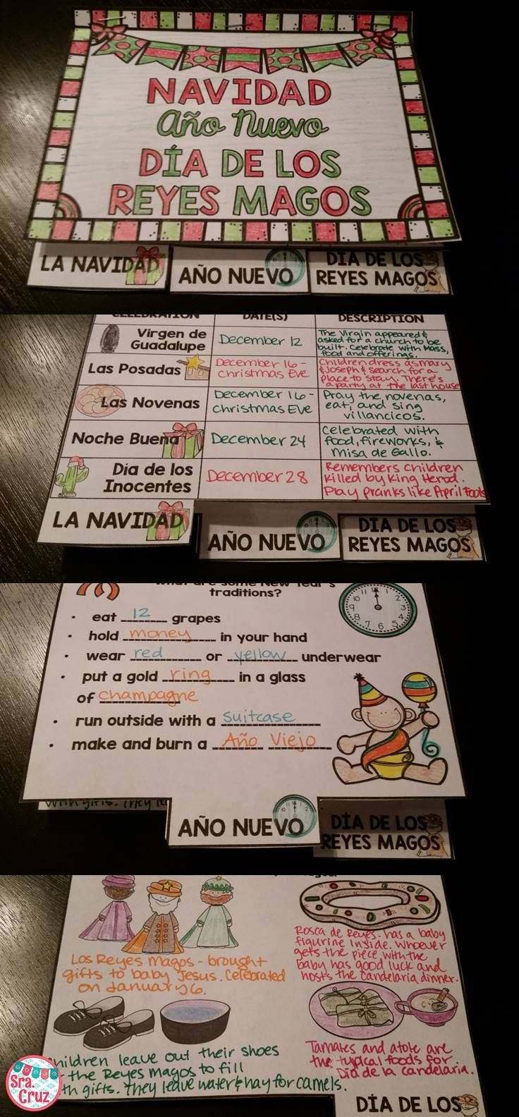 Mini book and PowerPoint for Navidad, Año Nuevo, and Día de los Reyes Magos.  Includes English and Spanish versions of mini book and PPTs.