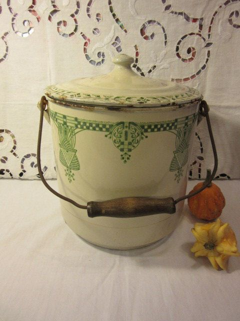 Old Pot of room glazed French Art Deco Antique French Enamel Chamber Pot
