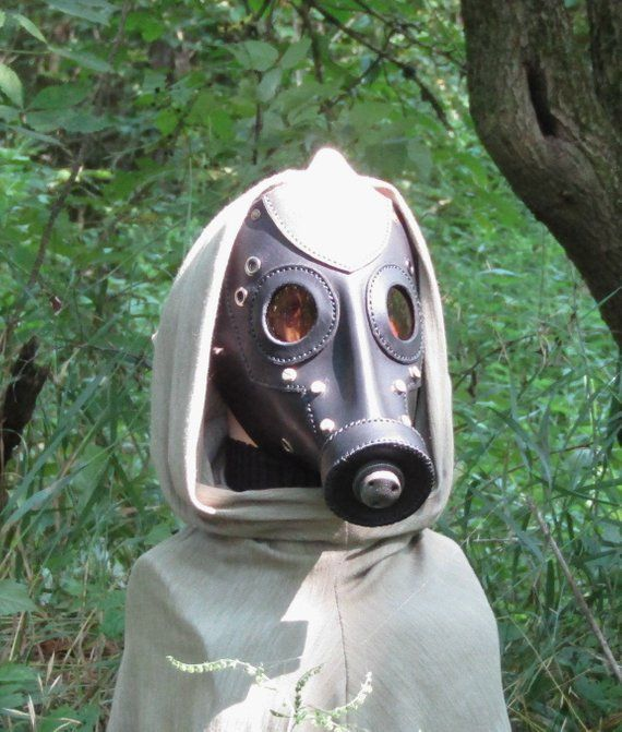 Black Leather Gas Mask Borderlands Post Apocalyptic Dystopia