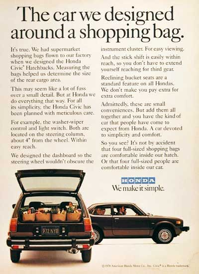 1978 Honda Civic CVCC original vintage advertisement. The car designed around a shopping bag. Supermarket bags were examined at the factory to help determine the size of the rear cargo area.