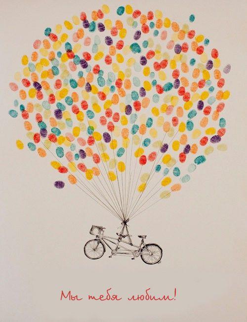 общая открытка от друзей: каждый шарик - отпечаток пальца