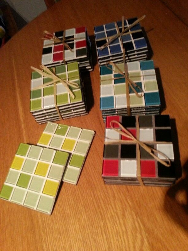 own work: mosaic coasters : Neeltje Wasmuth