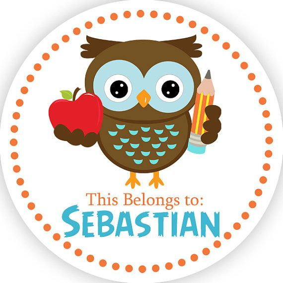 Personalized Name Label Stickers - Brown Blue, School, Teacher Apple Owl Name Tag Stickers - 2 inch Round Tags - Back to School Name Labels