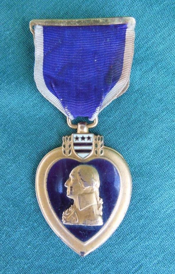 WWII WORLD WAR II PURPLE HEART MEDAL TYPE II RIBBON US ARMY 1942-43 ENAMEL