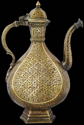 Mughal Brass Ewer, Engraved and with Dark Lac (clay) inlay. Norther India, Mid 17th to early 18th century.   We love the detailing and pattern.