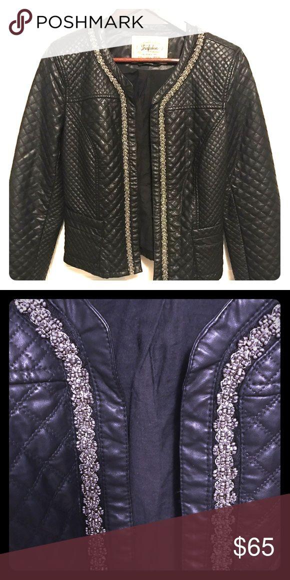 Zara Jacket Zara Beaded, Faux Quilted Leather Jacket. Size L but fits M better Zara Jackets & Coats