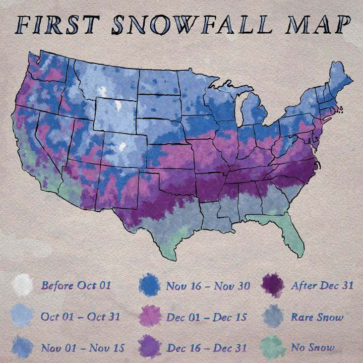 First snowfall map of the contiguous United