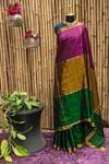 Pink gold green Gadwal pure silk saree