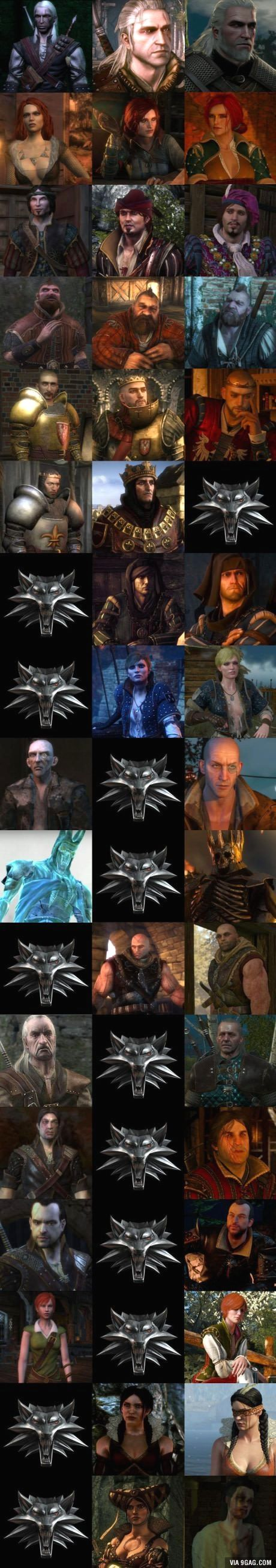 Geralt, Triss, Dandelion, Zoltan, Radovid, Foltest, Roche, Ves, Thaler, Eredin, Letho, Vesemir, Eskell, Lambert, Shani, Philippa and Síle.