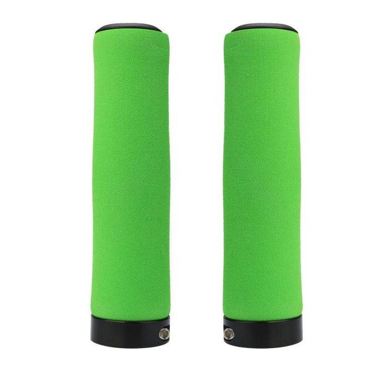 Double Lock On Locking MTB Mountain Bike Cycle Bicycle Handle Bar Grips (Green). Item Description: These stylish bike handle grips are great for any bikes. Will fit any Standard Bike or Scooter. Bar end Plugs included to the nice finishing. Size: 130MM Long including Ends. 22MM Diameter.