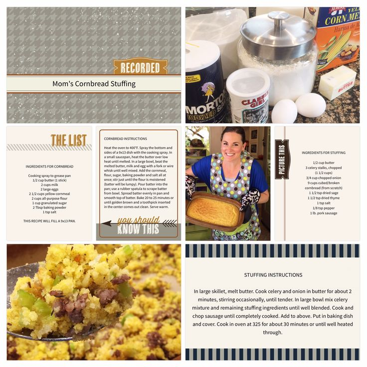 Mom's Cornbread Stuffing.  Recipe page made using the Project Life App by Becky Higgins.