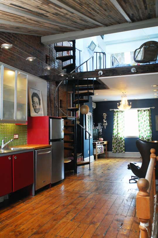 Love the industrial feel, the vintage floors, and the loft!