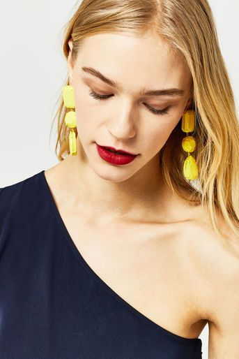 Warehouse, OVERSIZED JEWELLED EARRINGS Yellow 1