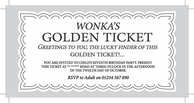 WILLY WONKA Golden Ticket Party Invitation Digital by SweetLex - entry ticket template