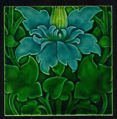 Climbing Clematis Art Nouveau Tile, L.F. Day, Pilkington Tile   JV