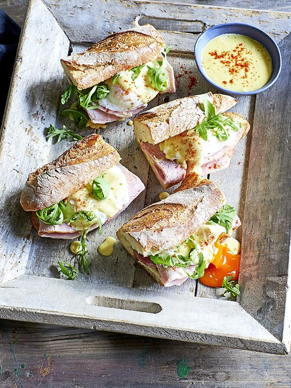 We've taken a classic brunch recipe and made it even better with this recipe for eggs benedict baguette. It's also a great, easy way of making hollandaise.