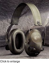 """Peltor Tactical Sound-Trap Electronic Ear Muffs- Impulsive noise is immediately attenuated. Assisted by an """"electronic vent,"""" the hearing protector is designed to reduce hazardous impulse noise from firearms to harmless levels within 5 milliseconds. This minimises the chance that dangerous noise reaches the ear.    To further improve communication possibilites, the SoundTrap is equipped with an electrical audio input jack for connection with two-way radios, telephones, mp3 players and iPods."""
