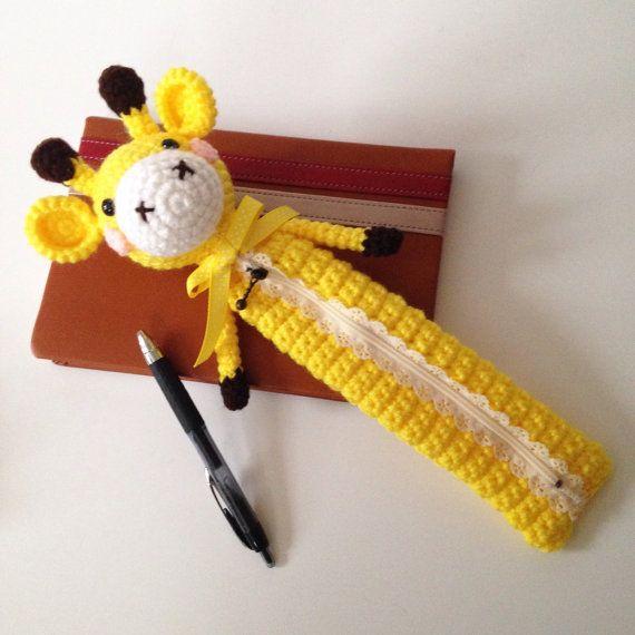 Amigurumi Supplies : Amigurumi giraffe crochet bag pencil case cosmetic
